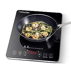 Inductie kookplaat, Amzchef enkele inductie kookplaat met zwart gepolijst kristalglas oppervlak, ultra-dun draagbaar ontwerp, sensor touch control en veiligheid slot, 2000W *