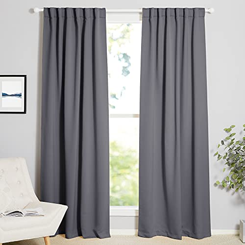 NICETOWN Blackout Curtain Panels Window Draperies - (Grey Color) 52x84 Inch, 2 Pieces, Insulating Room Darkening Blackout Drapes for Bedroom