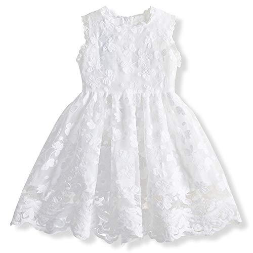 TTYAOVO Vestido de Princesa con Encaje para Niñas Vestido de Fiesta Vintage sin Mangas para Niñas de 6-7 años(Talla 140) 652 Blanco