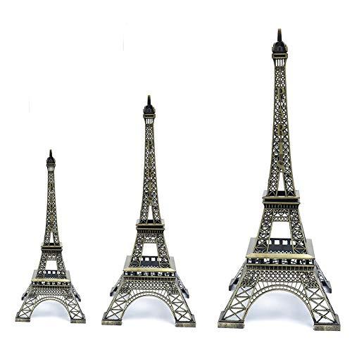 Estatua de Torre Eiffel 3 Piezas de Metal de la Torre Eiffel de París Modelo Figura Decorativa artesanía del Hierro