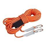 Klettern Seil, Außen Rope - 9,5 mm Statikseil - Abseilen Seil - Rettungsseil - Sicherungsseil -mit Karabiner (10m, 32ft) (20m, 64ft) (30m, 94ft) (50m, 161ft) (100 m, 328 Fuß),Orange,10M