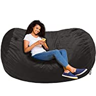 AmazonBasics Memory Foam Filled Bean Bag Chair with Microfiber Cover - 6', Gray