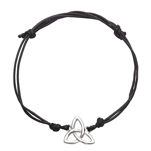 Versilbertes Trinity-Knoten-Armband, mit verstellbarem schwarzem Riemen