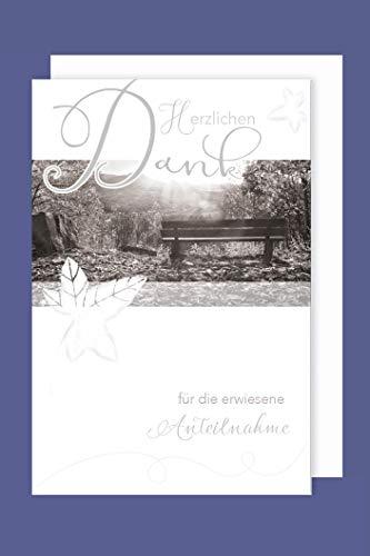 AvanCarte Trauer Danksagungen 5er Packung 5 Doppelkarten mit Umschlägen Danke Anteilnahme