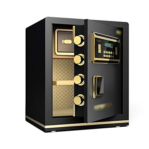 ZLQ Tresore Die Safes, Ganzstahl-Anti-Diebstahl-Fingerabdruck Entsperren Cash Box Dual-Intelligent-Alarmsystem for Hotel, Studio, Büro 45CM (Color : B)