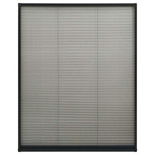 vidaXL Insektenschutz Plissee für Fenster Fliegengitter Dachfenster Mückengitter Mückenschutz Dachfensterplissee Aluminium Anthrazit 100x160cm
