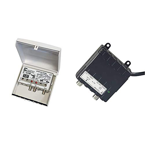 Elettronica Cusano- Amplificatore Antenna TV da Palo con Filtro Lte/4G, Guadagno Massimo 32Db & Cusano AL200, Alimentatore per Amplificatori Antenna, 12 V/200 mA, Nero