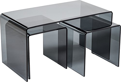 Stylish Set of 3 Curved Back Glass Coffee Tables   Modern 12mm Bent Glass Low Living Room Table & Side Table Set   Minimalist Dark Tempered Glass Nest of Tables 110 x 55 x 40 cm   Modena by Modern Furniture Direct