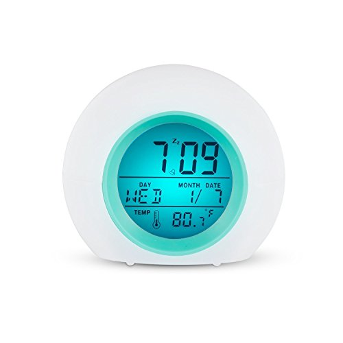 Wecker LED Wake-Up Licht Wecker mit Temperatur 7 Farbwechsel für Erwachsene und Kinder