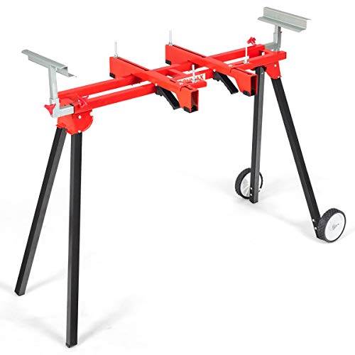 """Goplus Folding Miter Saw Stand with Wheels, Supports up to 300 lbs, 110"""" Support Extensions, Quick-release Mounting Brackets"""