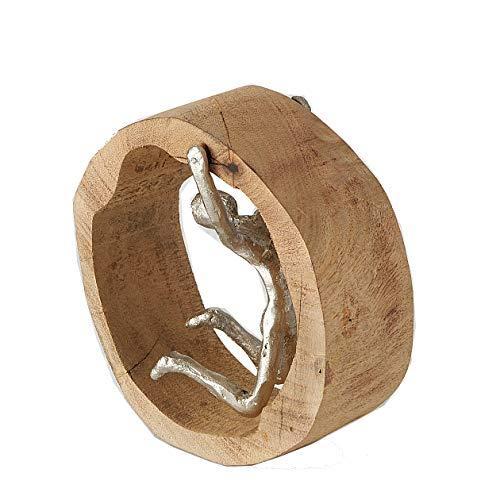 CasaJame Expositor decorativo Mango rueda de madera circular con figura de aluminio plateado 24 x 8 x 18 cm (figura colgante)