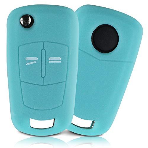 ASARAH Premium Silikon Schlüsselhülle geeignet für Opel, Schutzhülle Autoschlüssel Cover - Leuchtend Blau OP 2BKB
