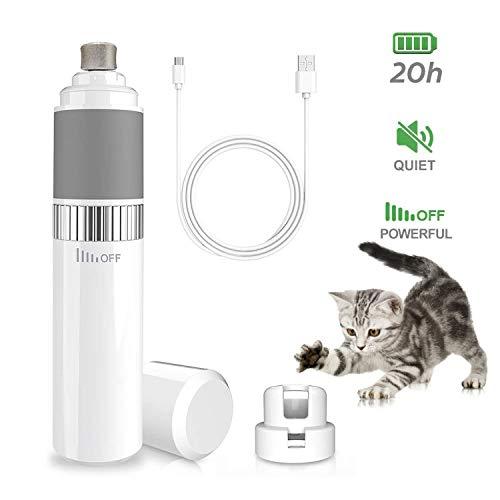 Krallenschleifer für Hunde&Katzen, WeyTy Nagelschleifer - 30 Dezibel super-leise Lärm, Schnelle Aufladung USB-Anschluß, Sicheres Glatt Trimmen, Elektrischer Nagelfeile zum Kleine/Mittel/Groß Hunde