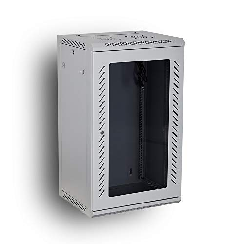 Kenuco 15U Wall Mount Rack Server Cabinet Data Network Enclosure 19Inch Server Network Rack with Locking Glass Door 16Inches Deep WHITE 15U