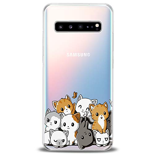 Cavka TPU Case for Samsung Galaxy S20 Plus 10 Lite Note 20 5G S10e S9 S8 Lightweight Girl Kawaii Animal Kids Print Adorable Clear Soft Cute Kitten Themed Cats Flexible Silicone Slim fit Design Cute