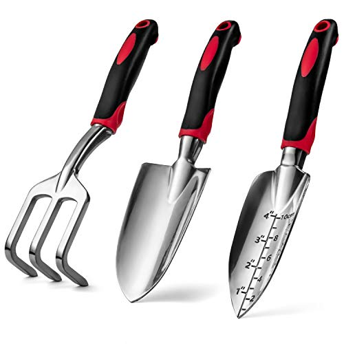 Garden Hand Tools Set of 3, Heavy Duty Cast Aluminum Garden Tools with Ergonomic Handles, Kit Includes 2 Trowels 1 Cultivator Hand Rake (3 Piece) Small Shovels for Gardening