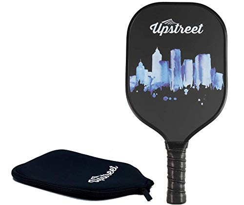 Upstreet Graphite Pickleball Paddle - Polypro Honeycomb Composite Core - Paddles Include Racket Cover (Aqua)