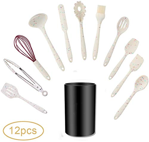 Silicone Cooking Utensil Set,12 Pcs Kitchen Cooking Utensils Set,Silicone Handles Cooking Tools Turner Spatula Spoon - Kitchen Gadgets Cookware Set - Best Kitchen Nonstick Tool Set(BPA Free)-Small