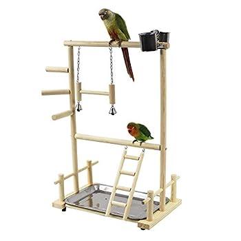 BASOYO Support de jeu en bois pour perroquet - Double couche - Aire de jeu pour oiseaux - Avec échelle balançoire et cloche - Pour perruches, petits perruches, calopsittes, pinsons