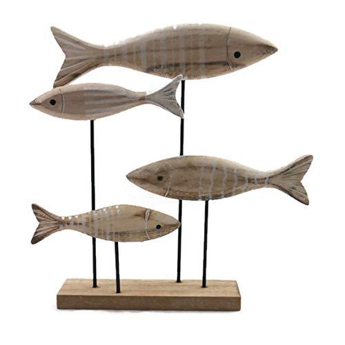 MAIKAI Fisch Aufsteller Deko Maritim Badezimmer Ca. L22 x H23 cm Holz Metall Dekoration Fischschwarm Fürs Bad Taufe Kommunion Tisch Deko