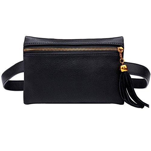 Milya Damen Modische Hüfttasche Taillenbeutel Bauchtasche aus Dünne PU Leder mit Troddel Verstellbaren Abnehmbaren Riemen (Schwarz)