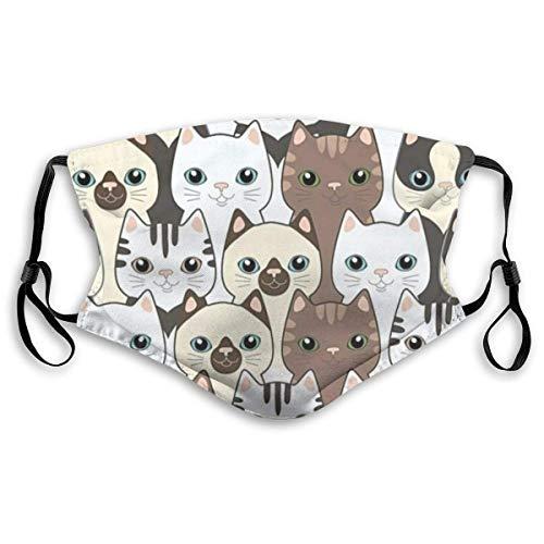 Mundschutz Gesichtssch Lustige Gesichtsmaske mit austauschbarer Aktivkohle-Maske Allergene Luftfiltermaske, niedliche Cartoon-Katzen Gesicht Home Haustiere Nutztiere