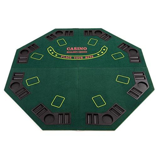 Nexos Faltbare Tischauflage Casino Pokertisch Pokerauflage achteckig Holzverstärkt klappbar 120 x 120 cm Chiptray Getränkehalter inkl. Tragetasche