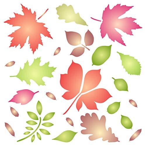 Blätter-Schablone – wiederverwendbare Herbstblatt-Flora-Wandschablone – für Papierprojekte, Scrapbooking, Tagebuch, Wände, Böden, Stoff, Möbel, Glas, Holz etc. L