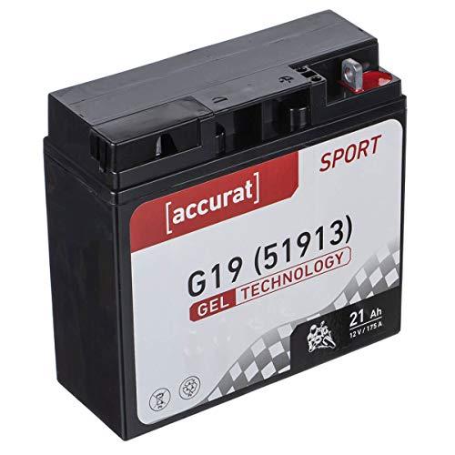 Accurat Motorradbatterie G19 21Ah 175A 12V Gel Technologie Starterbatterie in Erstausrüsterqualität zyklenfest sicher lagerfähig wartungsfrei