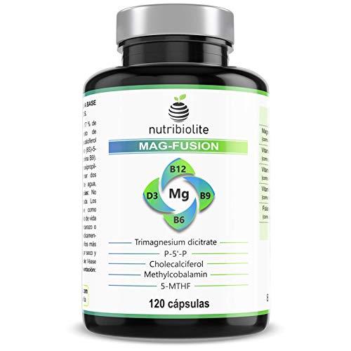 MAG-FUSION Complejo de Magnesio - Citrato de magnesio 3:2 + Vitaminas B6 P5P, B9 5-MTHF Folato, B12 metilcobalamina y D3 colecalciferol - 120 cápsulas