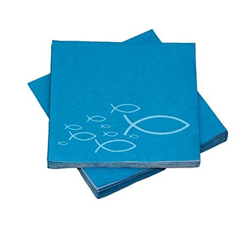 20 Servietten Fische Ichthys 33x33 cm - türkis hellblau - für Kommunion, Taufe oder andere Festliche Anlässe