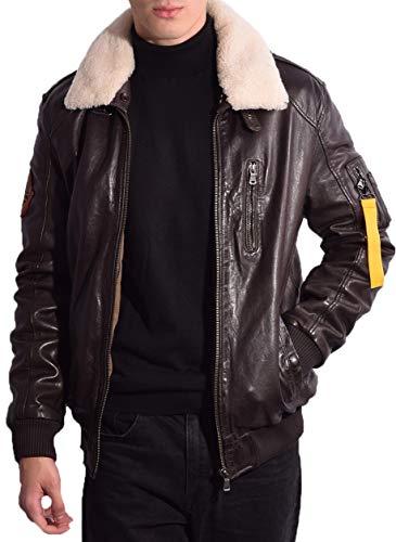 RICANO TG-1101 Herren Flieger Lederjacke aus echtem Lamm Nappa Leder mit Fellkragen aus Lammfell in schwarz und dunkel braun (Dunkelbraun, L (52))