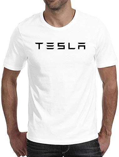 DELG Mens Tesla T-Shirt Mens Cotton Tee (White, Medium)