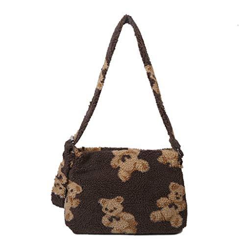 SHAOKAO Damen-Handtasche aus flauschigem Plüsch, Lamm-ähnlicher Stoff