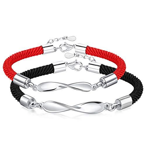 AtHomeShop Par de pulseras con colgante de anillo Mobius, regalo para el día de San Valentín, brillante, con caja de joyería, color negro y rojo – Hombre 18,5 + 4 cm, mujer 16,5 + 4 cm