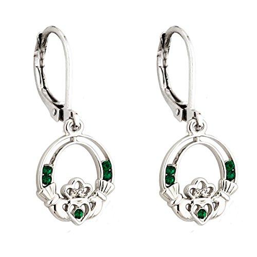 Claddagh Earrings Irish Celtic Green Crystal Rhodium Plated Drops Made in Ireland