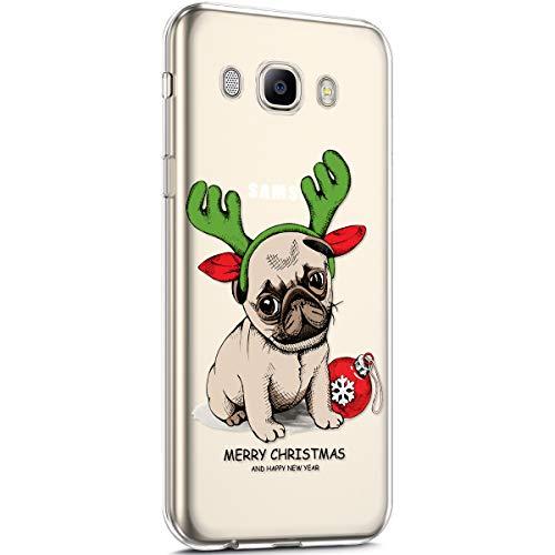 Surakey Cover Samsung Galaxy J5 2016, Custodia Silicone Trasparente Disegni Serie di Natale Snowflake Christmas Case Ultra Sottile Cristallo Gomma Morbida Protettiva Cover per Galaxy J5 2016,Cane