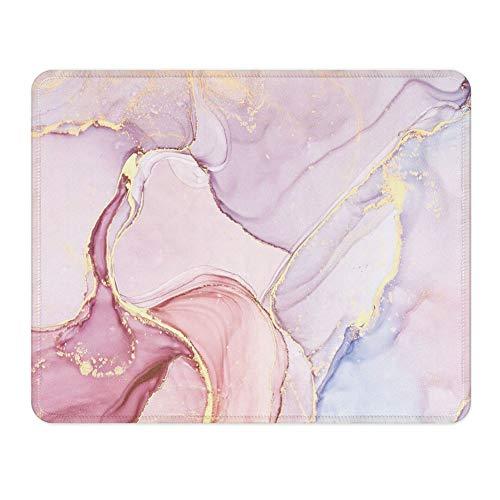 NNAKAPAKA, tappetino per mouse in gomma antiscivolo, quadrato, per computer e notebook, per lavorare e giocare. 260 x 210 mm con bordo cucito Medium Bellissimo marmo Pretty Marble Square