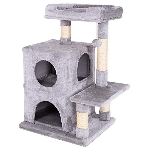 dibea Tiragraffi per gatto albero tiragraffi gatto gioco giocattolo gatti Altezza 80 cm Grigio chiaro