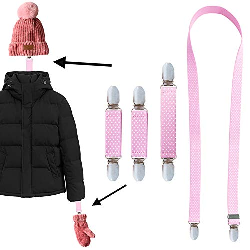 4pcs Winter Elastic Mitten Clips Beanie Caps Hat Clips for Kids Toddlers Babies Adults Children Women Strong Stainless Steel Gloves Clips Bulk for School, Snow and Cold Winter Days, Pink