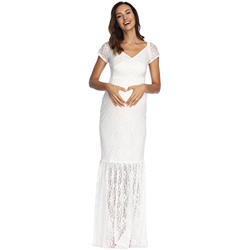 COSYOU Sexy Deep V-Neck Long Sleeve Lace Dress Beach Maxi Dress Photography...