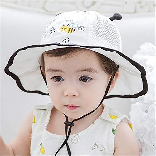 Gorro de bebé de algodón 0-12 Meses Gorro de Lavabo para bebé Visera Protector Solar Gorro de Pescador Gorro de Malla pequeño Blanco y Negro (46-50cm)