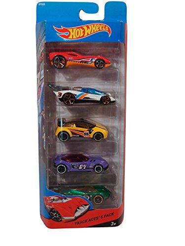 Hot Wheels Track Aces 5 Car Pack: CUL8R - Lotus Concept - Super Gnat - Golden Arrow - Flathead Fury by Mattel