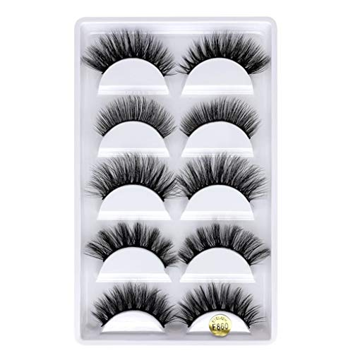 Xinjieda 5 Pairs 3D Eyelashes Long Thick Soft Artificial Fake Eye lashes for Women Eye Makeup, F820