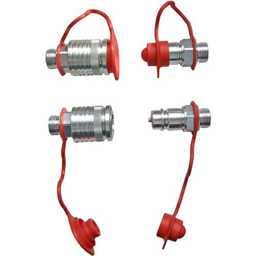 Set Hydraulik- Steckkupplungen 2x Muffe 2x Stecker 12L + 4x Staubschutz rot