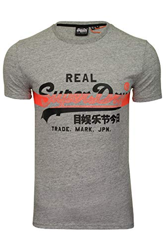 Superdry VL Cross Hatch Tee T-Shirt, Grigio (Collective Dark Grey Grit 9ss), L Uomo