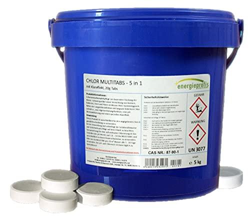 energieprofis 5 kg Chlor Multitabs 5 in 1 Klareffekt Multi Tabs 20 g