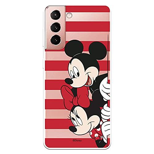 Funda para Samsung Galaxy S21 Oficial de Clásicos Disney Mickey y Minnie Asomados Rayas para Proteger tu móvil. Carcasa para Samsung con Licencia Oficial de Disney.