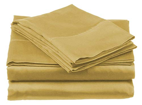 homelux beddings Homelux Microfiber Bedding Set - Breathable, Wrinkle Free, Fade Stain Resistant - 4 Piece Sheet Set, Full Size, Gold