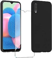XinYue Funda para Samsung Galaxy A30S / A50 + Protector Pantalla, Carcasa de Silicona Líquida Gel Ultra Suave Funda con tapete de Microfibra Anti-Rasguño - Negro